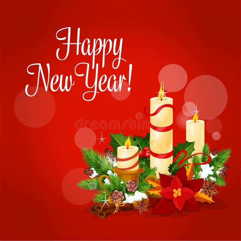 Карточка Нового Года и Xmas с свечой, падубом, сосной бесплатная иллюстрация