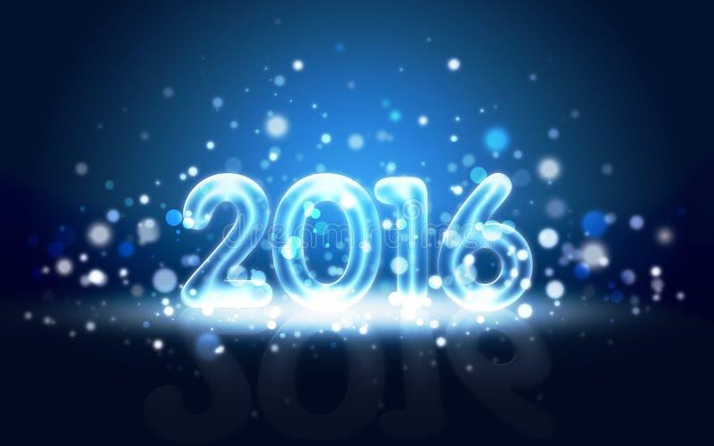 Карточка Нового Года 2016 с неоновыми числами стоковое изображение rf