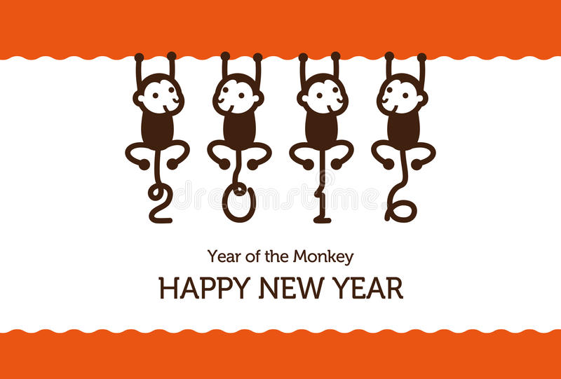 Карточка Нового Года с обезьянами стоковые фото