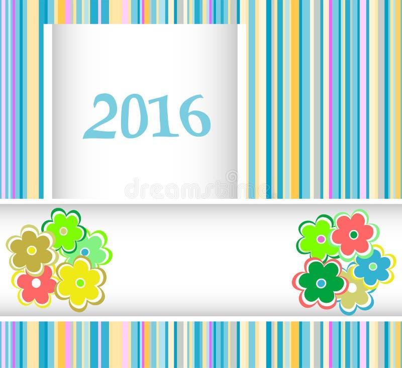 карточка Нового Года 2016 с цветками установила, приглашение праздника рождества иллюстрация вектора