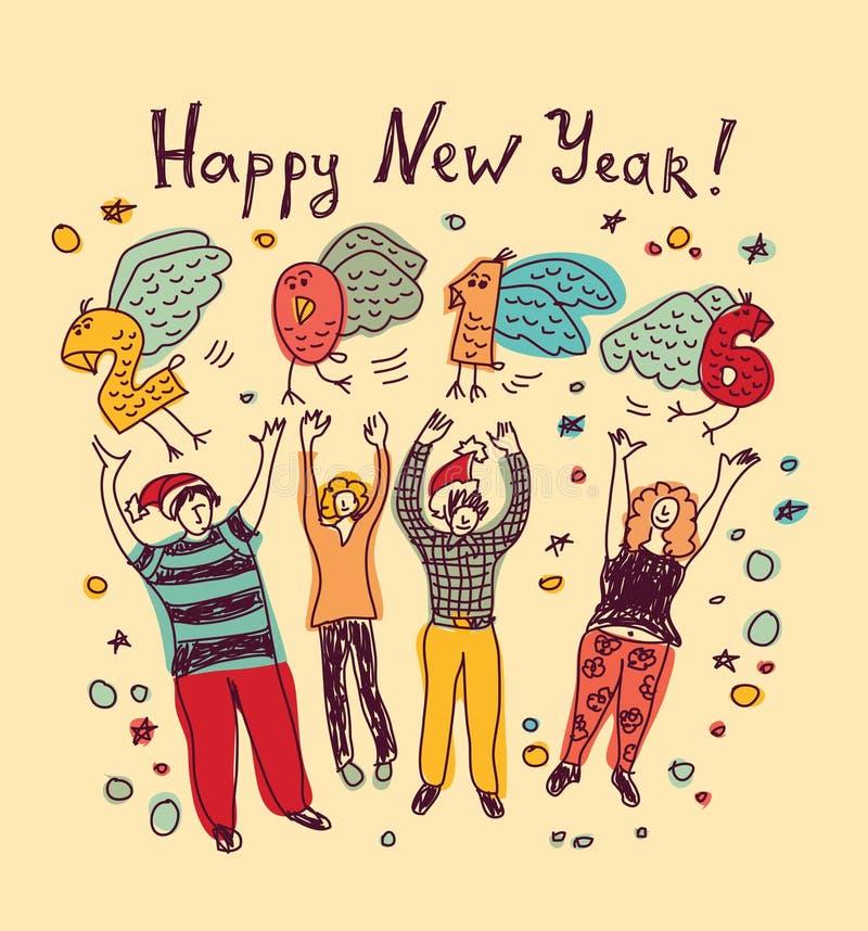 Карточка Нового Года 2016 людей вскользь иллюстрация вектора
