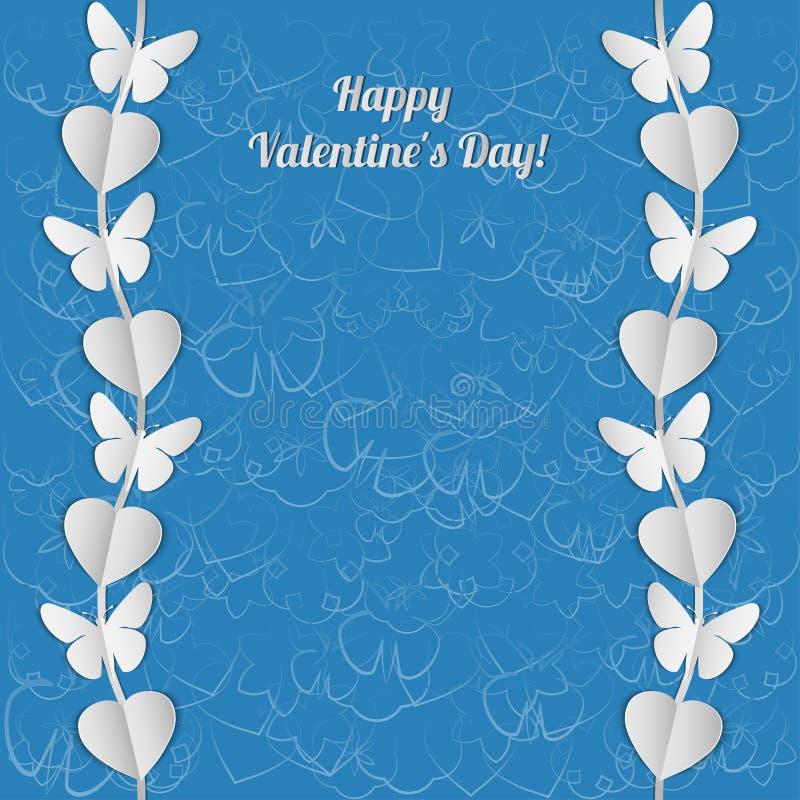 Download Карточка дня валентинки с белыми гирляндами сердец и бабочек Иллюстрация вектора - иллюстрации насчитывающей сторонника, ornate: 40583634