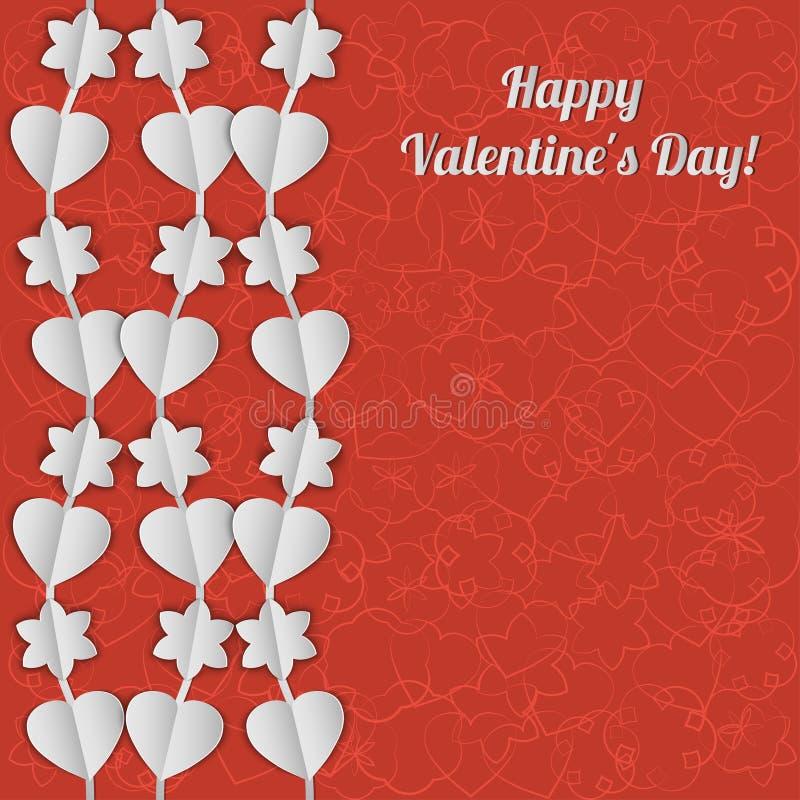 Download Карточка дня валентинки с белыми гирляндами сердец и цветков Иллюстрация вектора - иллюстрации насчитывающей приглашение, приветствие: 40583582