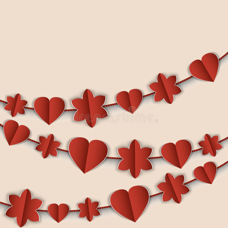 Download Карточка дня валентинки с красными гирляндами сердец и цветков Иллюстрация вектора - иллюстрации насчитывающей гирлянда, ornate: 40583959