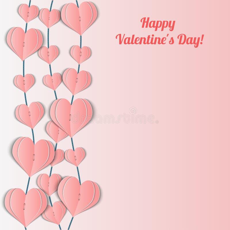 Download Карточка дня валентинки с розовыми гирляндами сердец Иллюстрация вектора - иллюстрации насчитывающей художничества, декор: 40584180