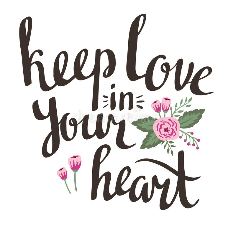 Карточка дня валентинки с стильной литерностью влюбленности держит влюбленность в вашем сердце иллюстрация вектора