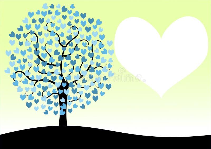 Карточка дня валентинок дерева влюбленности иллюстрация штока