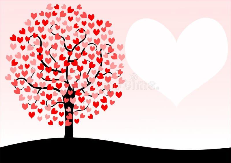 Карточка дня валентинок дерева бесплатная иллюстрация