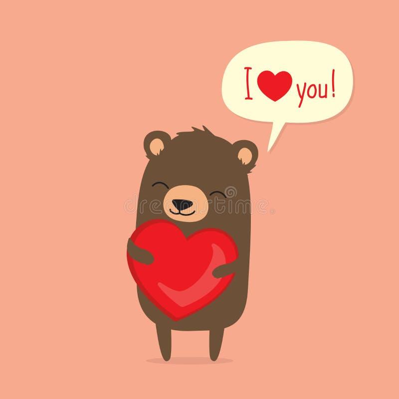 Карточка дня ` s валентинки при милый медведь шаржа держа сердце иллюстрация штока