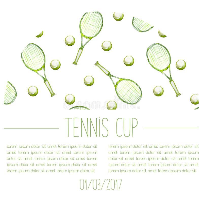Карточка объявления чашки тенниса акварели нарисованная рукой стоковое фото