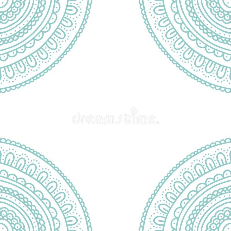 Карточка орнамента шнурка Doodle Приглашение нарисованное рукой пастельное голубое иллюстрация штока