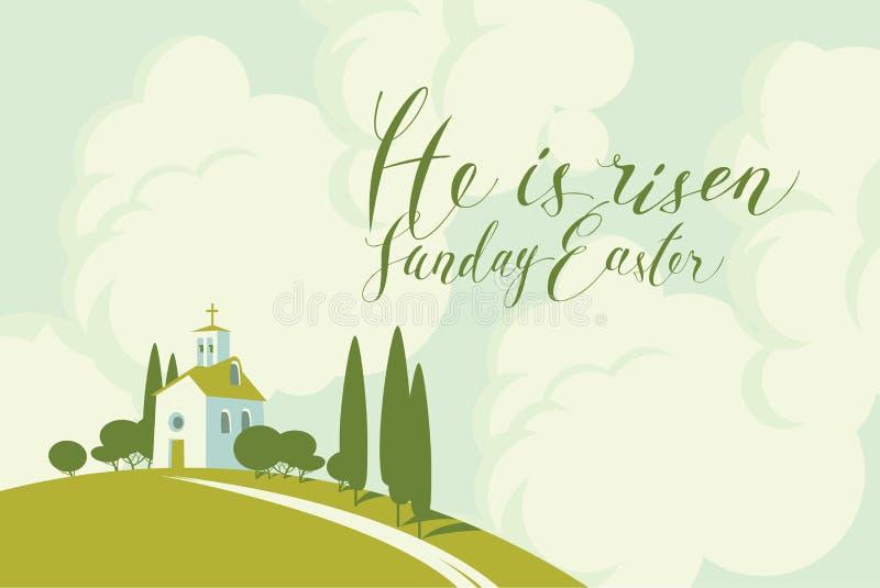 Карточка пасхи с церковью на холме, небе и облаках бесплатная иллюстрация
