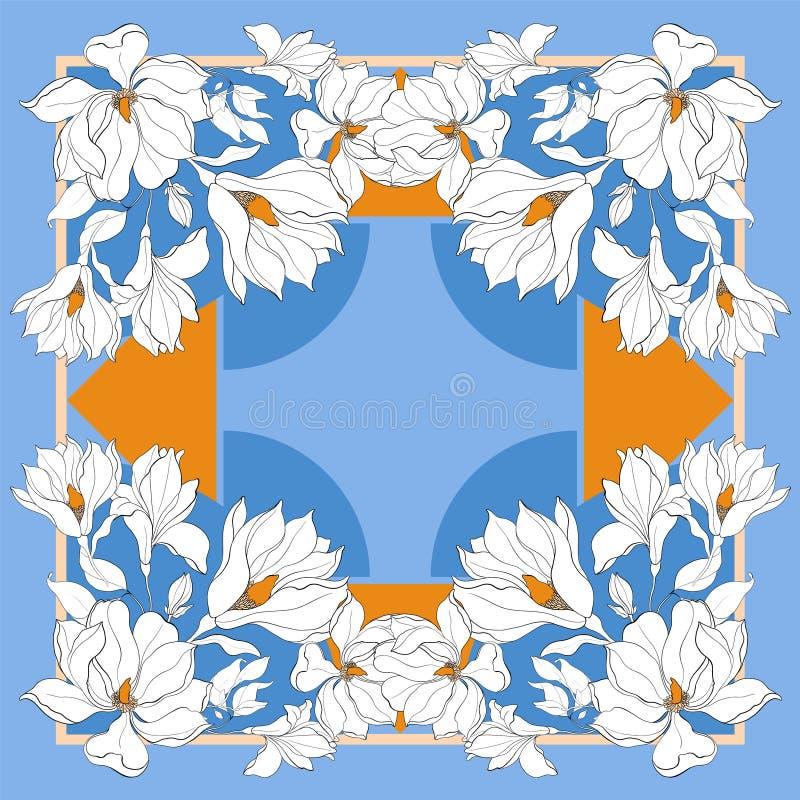 Карточка, печать bandana, дизайн банданы, салфетка Синяя бежевая богато украшенная картина на пастельном vlue Подготавливайте для стоковое изображение rf