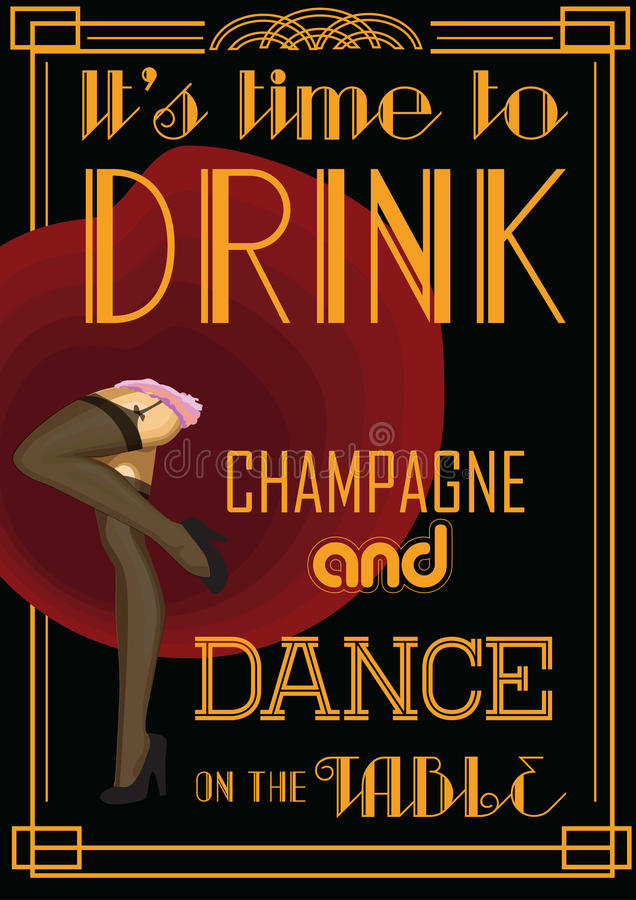 Карточка питья ретро с текстом: время выпить шампанское и танец на таблице также вектор иллюстрации притяжки corel иллюстрация вектора