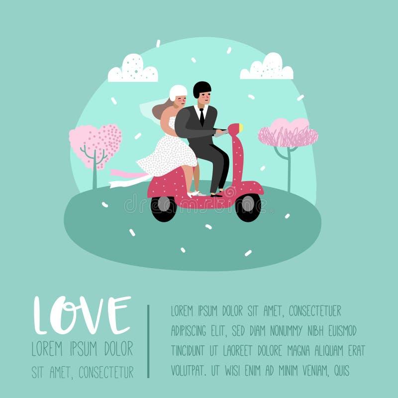 Карточка плаката характеров жениха и невеста шаржей людей свадьбы Романтичные элементы церемонии с счастливыми парами иллюстрация вектора