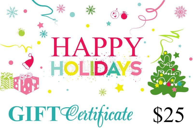 Карточка подарка, праздники подарочного сертификата счастливые бесплатная иллюстрация