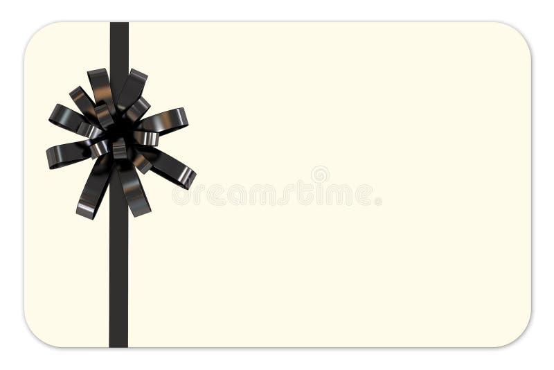 Карточка подарка с черной тесемкой иллюстрация вектора