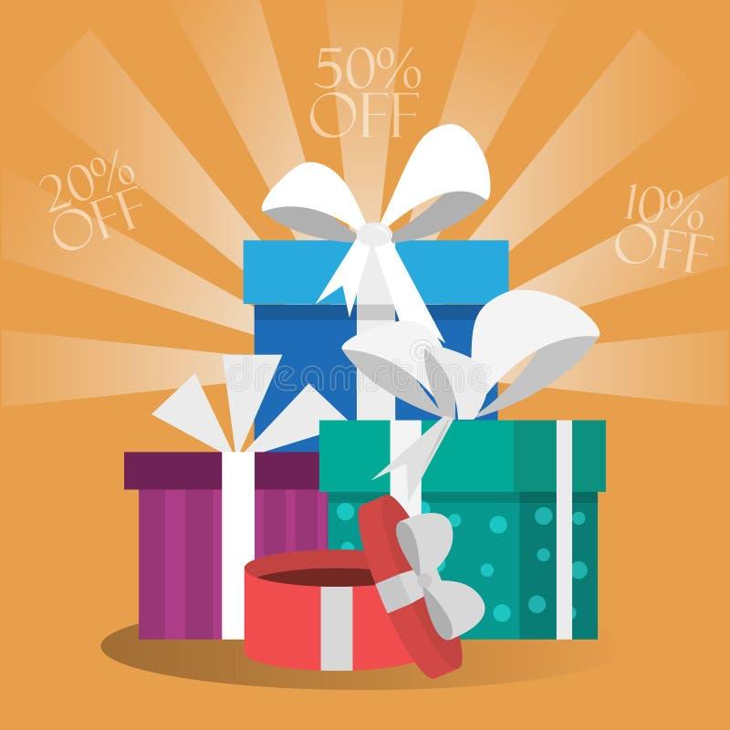 Карточка подарочных коробок иллюстрация штока
