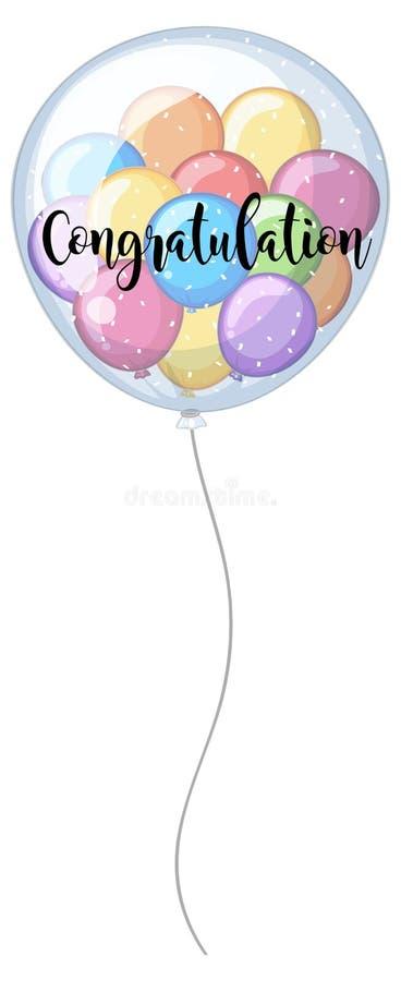 Карточка поздравлению с красочными воздушными шарами бесплатная иллюстрация