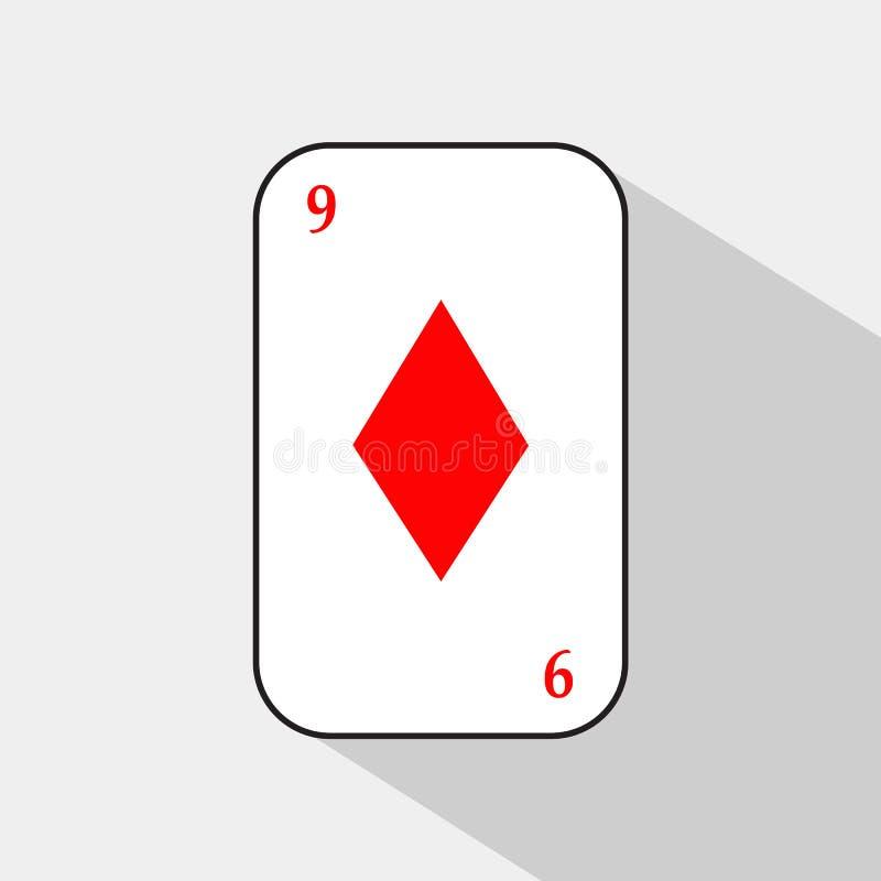Карточка покера ДИАМАНТ 9 белая предпосылка, который нужно быть легко сепарабольный иллюстрация вектора