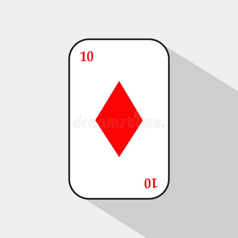 Карточка покера 10 диамантов белая предпосылка, который нужно быть легко сепарабольный иллюстрация штока