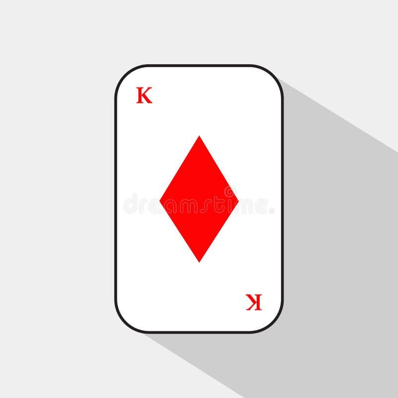 Карточка покера Король Диамант белая предпосылка, который нужно быть легко сепарабольный иллюстрация штока