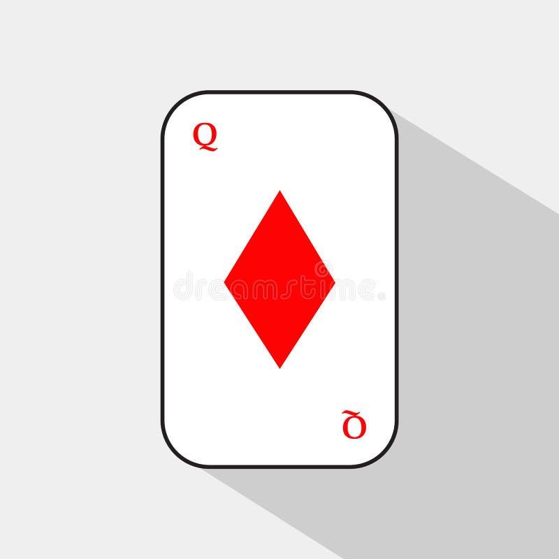 Карточка покера Ферзь диаманта белая предпосылка, который нужно быть легко сепарабольный иллюстрация штока