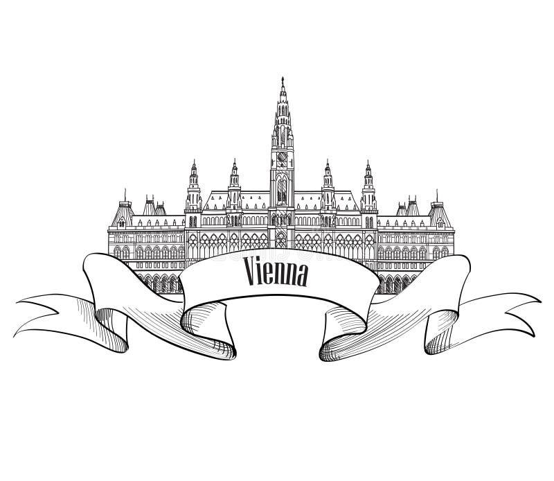 Карточка посещения Австрии Город вены Известный изолированный ориентир ориентир бесплатная иллюстрация