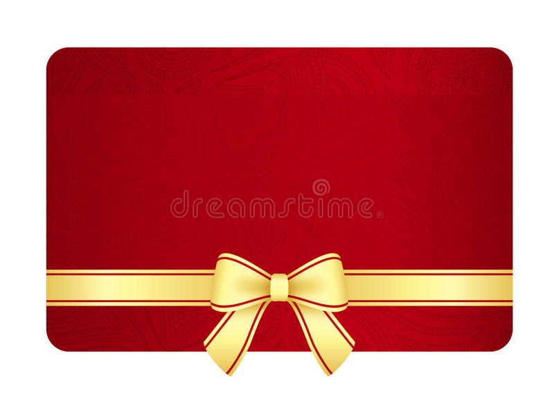 Карточка подарка золота с красной лентой и год сбора винограда флористический бесплатная иллюстрация