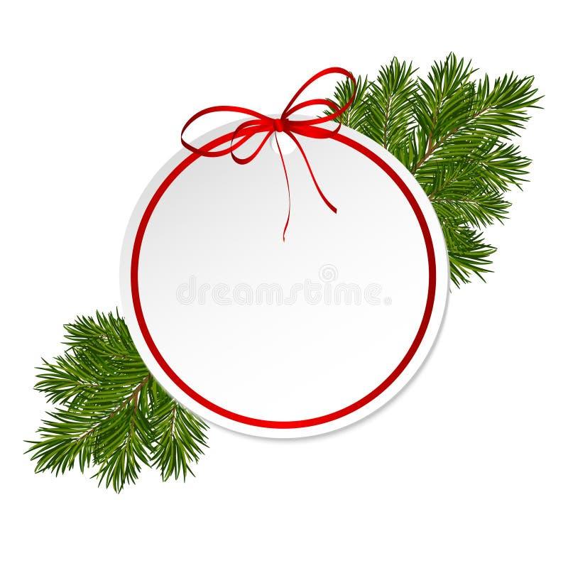 Карточка подарка рождества с смычком сатинировки ленты стоковые изображения