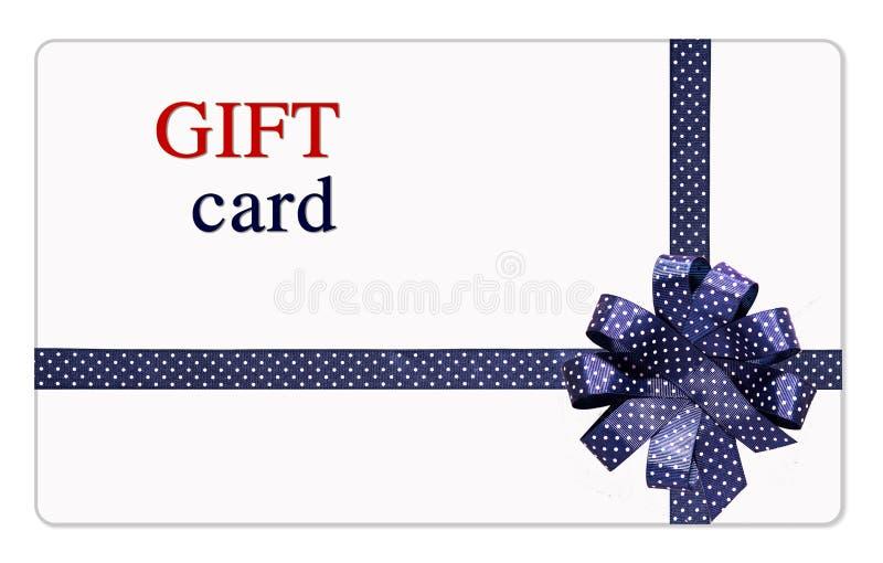 Карточка подарка с голубыми лентами и смычком стоковое изображение