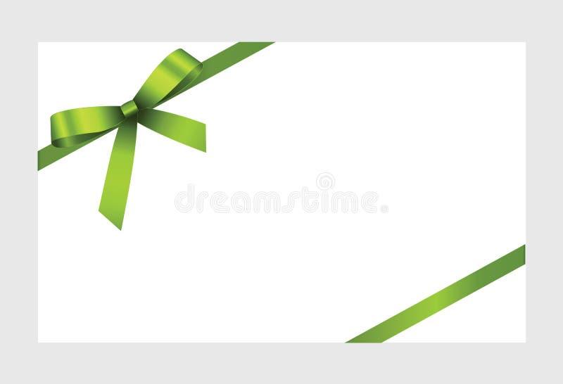 Карточка подарка с зеленой лентой и смычком иллюстрация штока