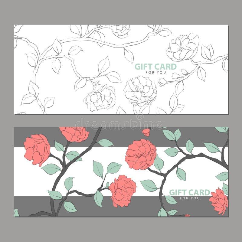 Карточка подарка с чувствительными цветками иллюстрация штока