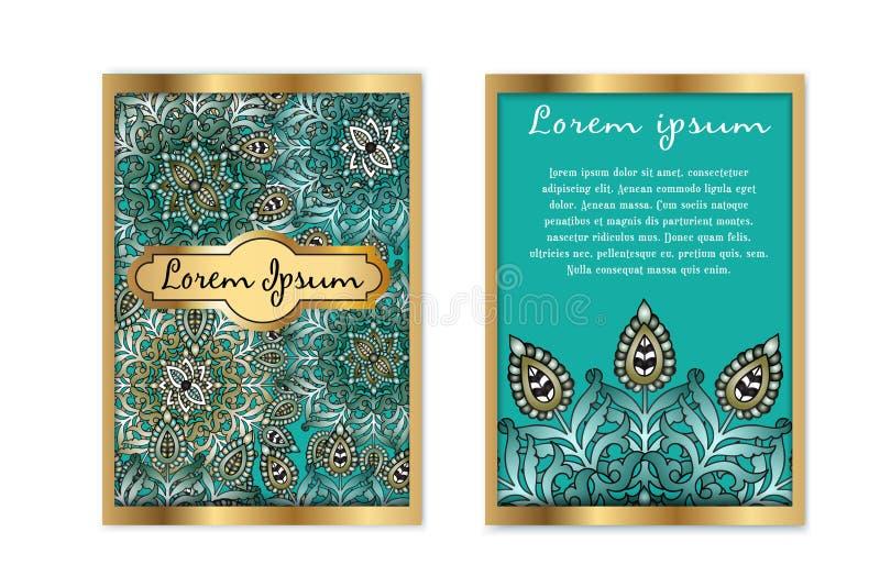 Карточка подарка шаблона вектора винтажная роскошная Флористическая предпосылка картины мандалы Национальный план дизайна Ислам,  иллюстрация штока