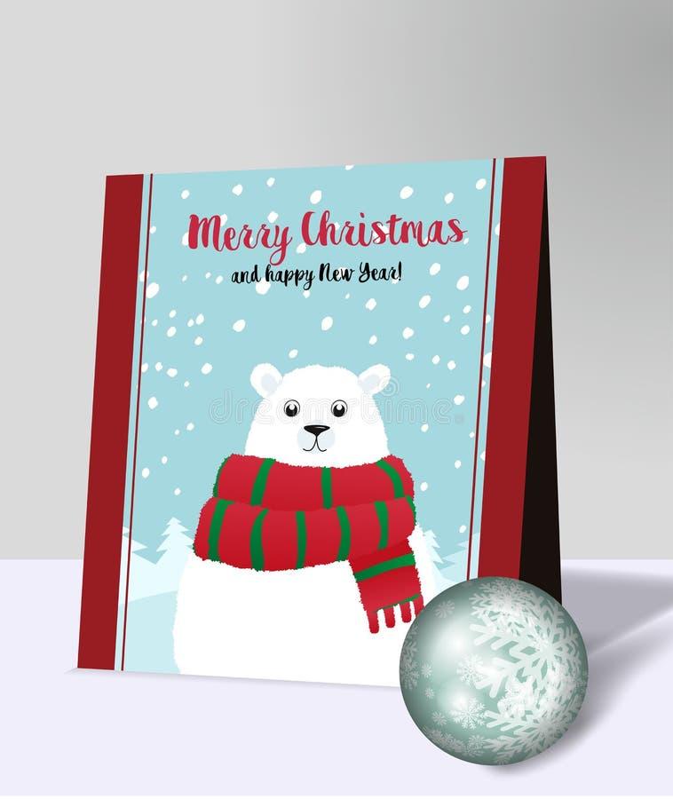 Карточка праздника рождества с белым полярным медведем иллюстрация штока