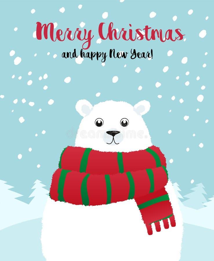 Карточка праздника рождества с белым полярным медведем бесплатная иллюстрация
