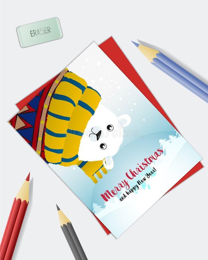 Карточка праздника рождества иллюстрация штока
