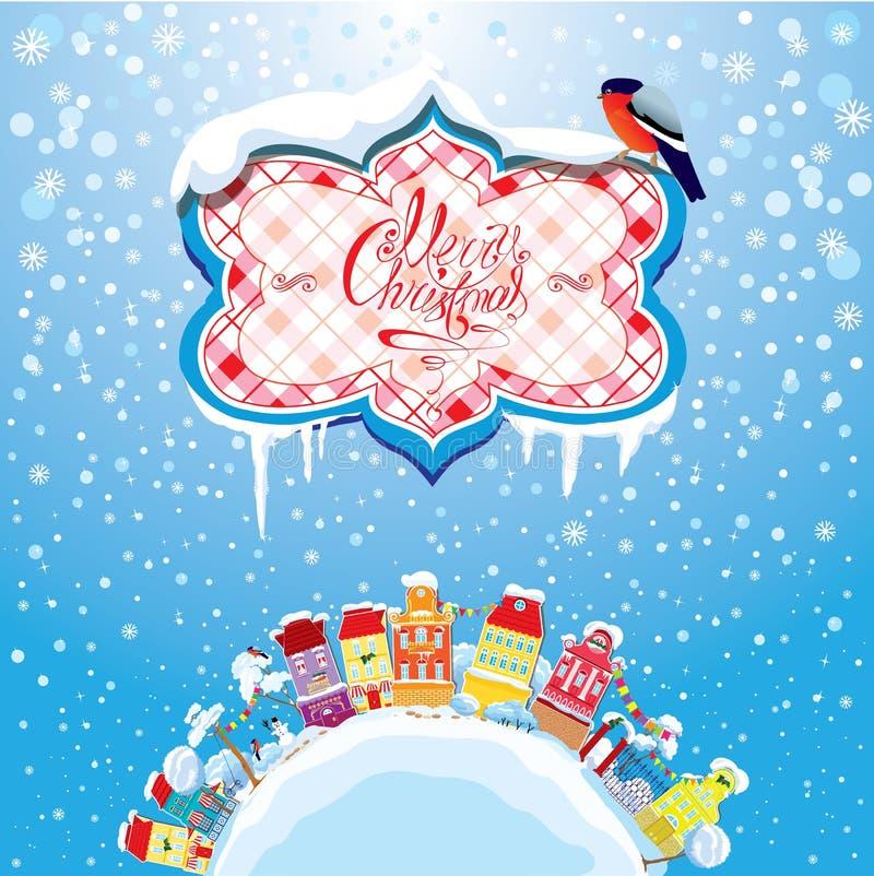 Карточка праздников рождества и Нового Года с малым fa иллюстрация штока