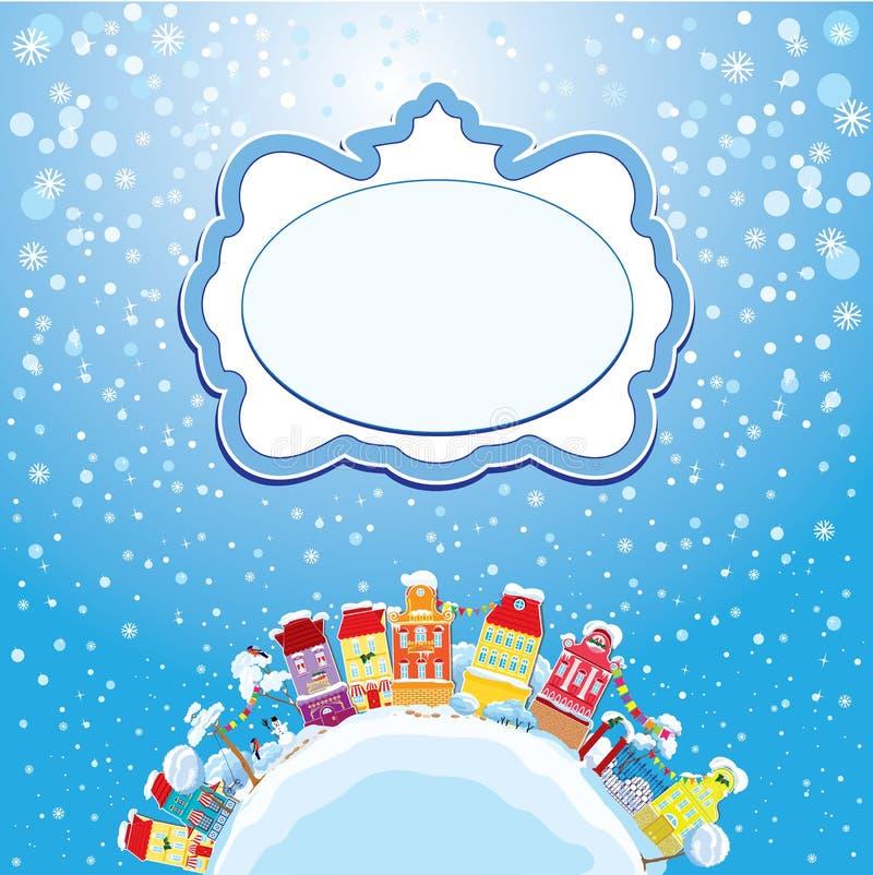 Карточка праздников рождества и Нового Года с малым fa иллюстрация вектора