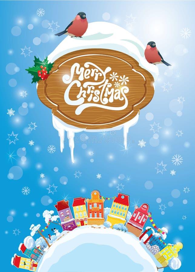 Карточка праздников рождества и Нового Года с малым fairy городком иллюстрация штока