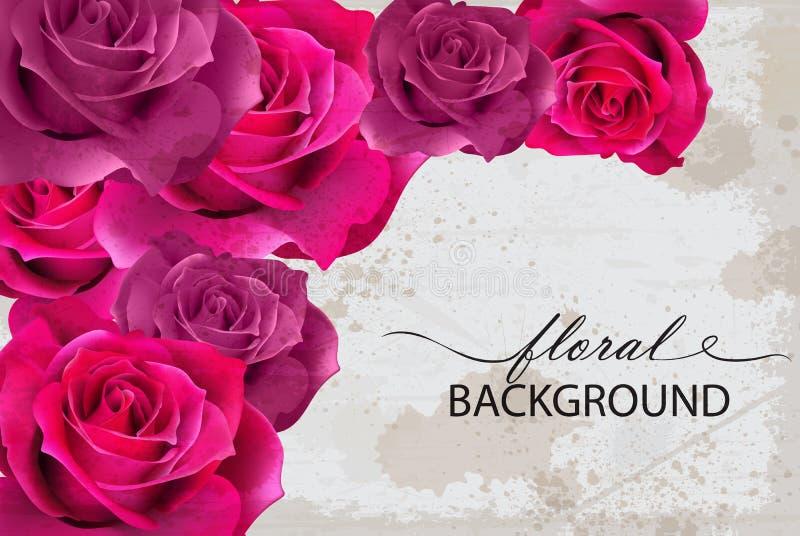 Карточка предпосылки вектора флористическая с Fuchsia розами реалистические флористические дизайны 3d иллюстрация вектора
