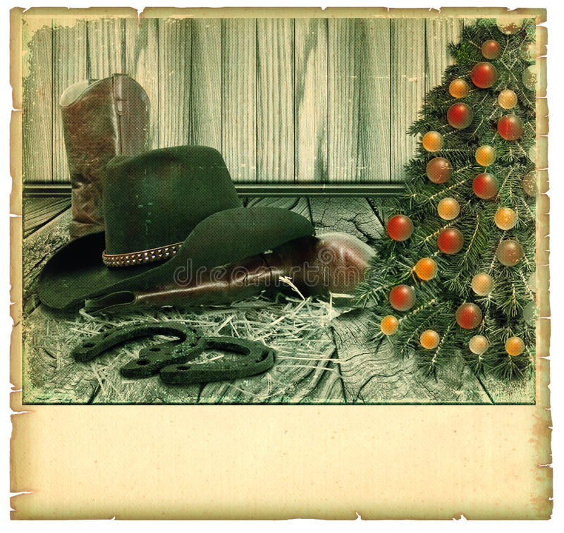 Карточка предпосылки ковбоя Кристмас стоковая фотография