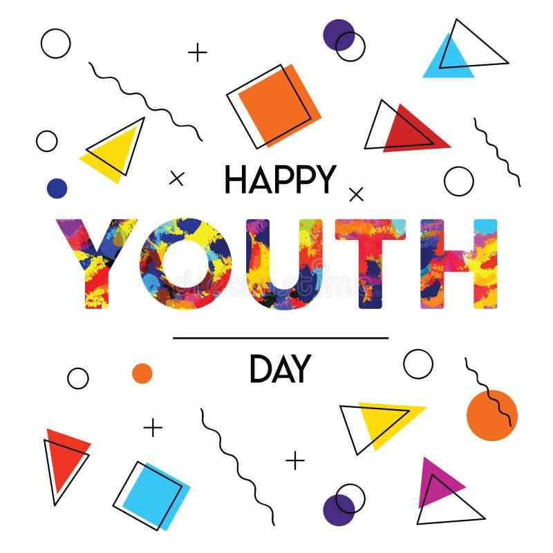 Карточка предпосылки счастливого конспекта дня молодости ретро иллюстрация штока