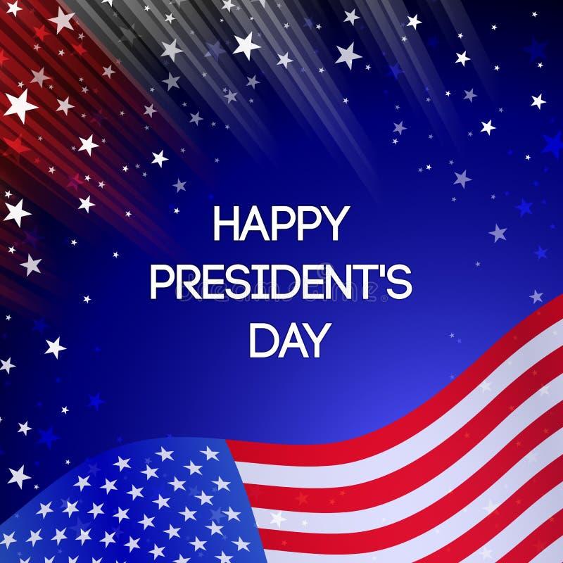 Карточка президентов Дня вектора Национальная американская иллюстрация праздника с флагом США на черной предпосылке иллюстрация вектора