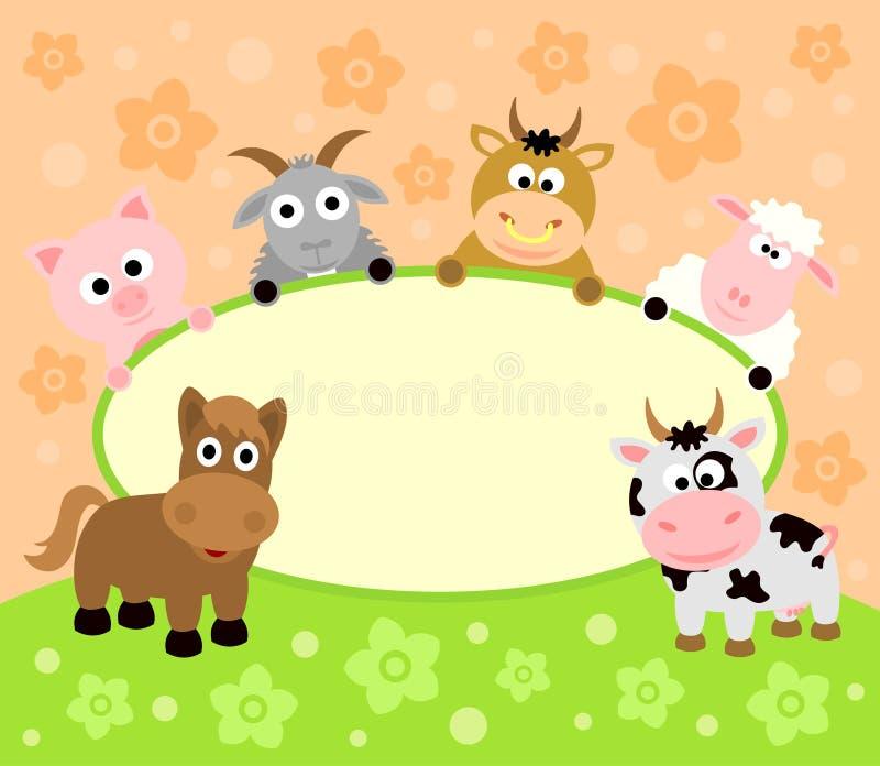 Карточка предпосылки с животными иллюстрация штока