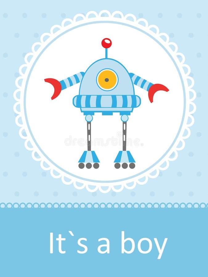 Карточка прибытия младенца с милый маленьким роботом иллюстрация штока