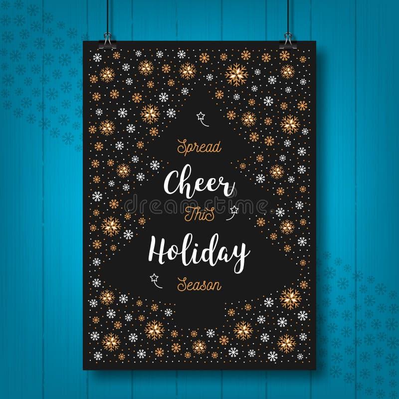 Карточка приветственного восклицания праздника рождества, плакат Xmas, приветствуя открытку, приглашение, рогулька иллюстрация штока