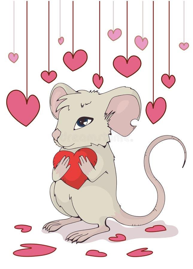 карточка 2007 приветствуя счастливое Новый Год Милая мышь давая любовь и сердце иллюстрация вектора