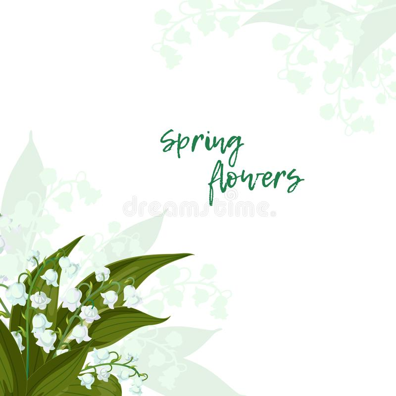 карточка 2007 приветствуя счастливое Новый Год Lilly долины - колоколы в мае, majalis Convallaria с зелеными листьями на белой пр бесплатная иллюстрация