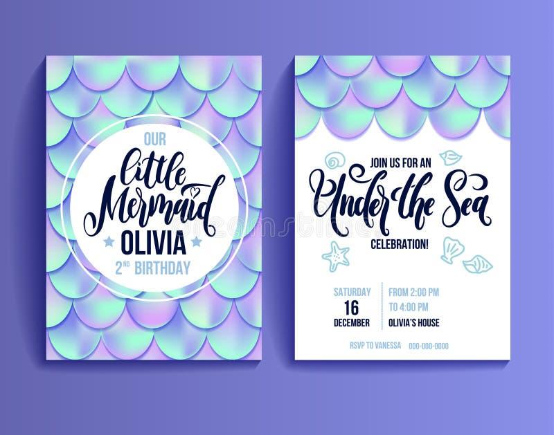 Карточка приглашения вечеринки по случаю дня рождения для русалки маленькой девочки Голографические масштабы рыб и приглашение ли иллюстрация штока